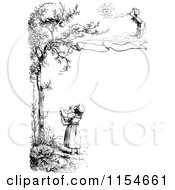 Clipart Of A Retro Vintage Black And White Border Of Children And A Bird In A Tree Royalty Free Vector Clipart by Prawny Vintage