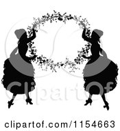 Clipart Of Retro Vintage Silhouetted Ladies Holding Up A Floral Frame Royalty Free Vector Clipart