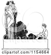 Clipart Of A Retro Vintage Black And White Boy And Woman With Masks On A Banner Royalty Free Vector Clipart by Prawny Vintage