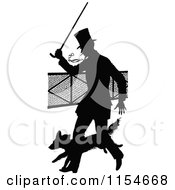 Clipart Of A Retro Vintage Silhouetted Man With A Cane And Dog Royalty Free Vector Clipart