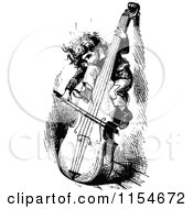 Clipart Of A Retro Vintage Black And White Boy Playing A Cello Royalty Free Vector Clipart