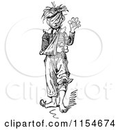 Clipart Of A Retro Vintage Black And White Injured Boy Royalty Free Vector Clipart