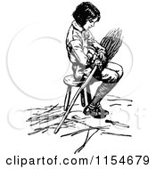 Clipart Of A Retro Vintage Black And White Boy Sitting On A Stool With A Broom Royalty Free Vector Clipart by Prawny Vintage