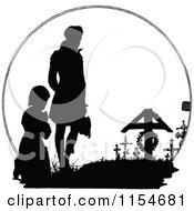 Clipart Of A Retro Vintage Black And White Silhouetted Men Mourning At A Grave Royalty Free Vector Clipart by Prawny Vintage