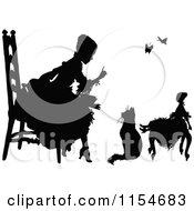 Clipart Of A Retro Vintage Silhouetted Girl Talking To Her Cat And Doll Royalty Free Vector Clipart by Prawny Vintage