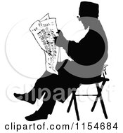 Clipart Of A Retro Vintage Silhouetted Man Reading The News Royalty Free Vector Clipart by Prawny Vintage