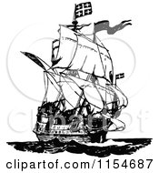 Clipart Of A Retro Vintage Black And White Ship Royalty Free Vector Clipart by Prawny Vintage
