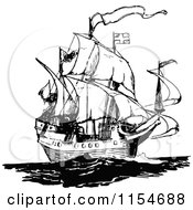 Clipart Of A Retro Vintage Black And White Ship 2 Royalty Free Vector Clipart by Prawny Vintage