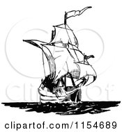 Clipart Of A Retro Vintage Black And White Ship 3 Royalty Free Vector Clipart by Prawny Vintage