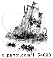 Clipart Of Retro Vintage Black And White Ships And Boats Royalty Free Vector Clipart by Prawny Vintage