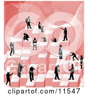 Businessmen Working Together As A Team To Stack Red Building Blocks Of Success Clipart Illustration