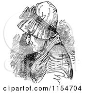 Clipart Of A Retro Vintage Black And White Old Woman In A Bonnet Royalty Free Vector Clipart by Prawny Vintage