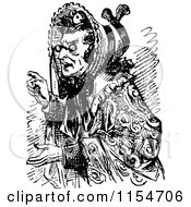 Clipart Of A Retro Vintage Black And White Old Woman Pointing Royalty Free Vector Clipart by Prawny Vintage