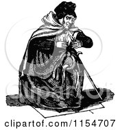 Clipart Of A Retro Vintage Black And White Old Woman Sitting Royalty Free Vector Clipart by Prawny Vintage