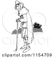Clipart Of A Retro Vintage Black And White Old Man Using A Cane Royalty Free Vector Clipart by Prawny Vintage