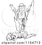 Clipart Of A Retro Vintage Black And White Boy And Girl Playing Royalty Free Vector Clipart