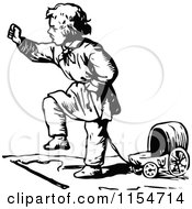 Clipart Of A Retro Vintage Black And White Boy And Toy Wagon Royalty Free Vector Clipart by Prawny Vintage