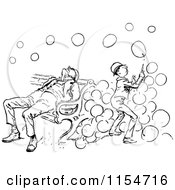 Clipart Of A Retro Vintage Black And White Boy Playing With Bubbles By A Sleeping Man Royalty Free Vector Clipart
