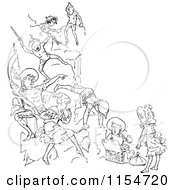 Clipart Of A Retro Vintage Black And White Group Of Children Playing Royalty Free Vector Clipart