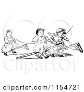 Clipart Of Retro Vintage Black And White Kids On Stick Ponies Royalty Free Vector Clipart