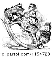 Clipart Of Retro Vintage Black And White Children On A Rocking Horse Royalty Free Vector Clipart by Prawny Vintage