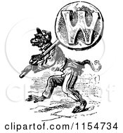 Clipart Of A Retro Vintage Black And White Wolf Carrying The Letter W Royalty Free Vector Clipart by Prawny Vintage
