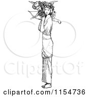 Clipart Of A Retro Vintage Black And White Woman And Cupid Royalty Free Vector Clipart by Prawny Vintage