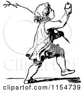Clipart Of A Retro Vintage Black And White Boy Holding Up An Apple Royalty Free Vector Clipart