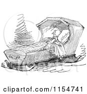 Clipart Of A Retro Vintage Black And White Baby Sleeping In A Crib Royalty Free Vector Clipart