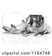 Clipart Of A Retro Vintage Black And White Bird Drawn Carriage Royalty Free Vector Clipart