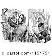 Clipart Of Retro Vintage Black And White Men In A Library Royalty Free Vector Clipart