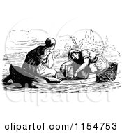 Clipart Of A Retro Vintage Black And White Couple In A Boat Royalty Free Vector Clipart