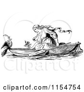 Clipart Of A Retro Vintage Black And White Woman Talking To A Bird Ona Boat Royalty Free Vector Clipart