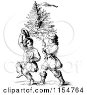 Retro Vintage Black And White Boys Carrying A Christmas Tree