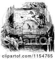 Clipart Of A Retro Vintage Black And White Bird In A Cage Royalty Free Vector Clipart by Prawny Vintage
