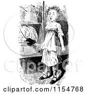 Clipart Of A Retro Vintage Black And White Mouse Scaring A Girl Royalty Free Vector Clipart