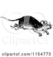 Clipart Of A Retro Vintage Black And White Running Mouse Royalty Free Vector Clipart