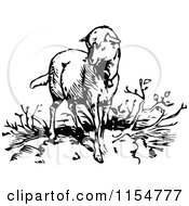 Clipart Of A Retro Vintage Black And White Lamb Royalty Free Vector Clipart by Prawny Vintage