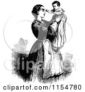 Clipart Of A Retro Vintage Black And White Mother Holding Up Her Baby Royalty Free Vector Clipart by Prawny Vintage