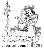 Clipart Of A Retro Vintage Black And White Mother Holding Her Baby Royalty Free Vector Clipart by Prawny Vintage