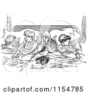 Clipart Of A Retro Vintage Black And White Group Of Children Sharing A Bed Royalty Free Vector Clipart