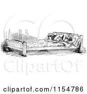 Clipart Of A Retro Vintage Black And White Group Of Children Sharing A Bed 2 Royalty Free Vector Clipart