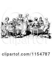 Clipart Of A Retro Vintage Black And White Family At A Table Royalty Free Vector Clipart by Prawny Vintage