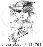 Clipart Of A Retro Vintage Black And White Hand Holding A Buttercup In Front Of A Girl Royalty Free Vector Clipart