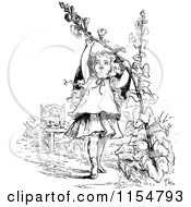 Clipart Of A Retro Vintage Black And White Girl Pulling On A Flower Stalk Royalty Free Vector Clipart