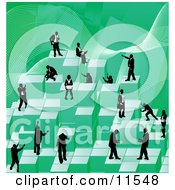Businessmen Working Together As A Team To Stack Green Building Blocks Of Success Clipart Illustration