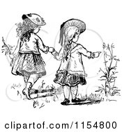Clipart Of Retro Vintage Black And White Girls Holding Hands And Looking At Flowers Royalty Free Vector Clipart