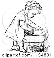 Clipart Of A Retro Vintage Black And White Girl Ironing Royalty Free Vector Clipart by Prawny Vintage