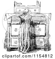 Clipart Of A Retro Vintage Black And White Woman At A Dresser Royalty Free Vector Clipart