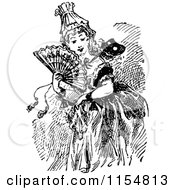 Clipart Of A Retro Vintage Black And White Lady With A Fan And Mask Royalty Free Vector Clipart